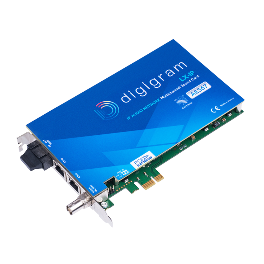 LX-IP Digigram Carte son multicanal AoIP AES67 Ravenna