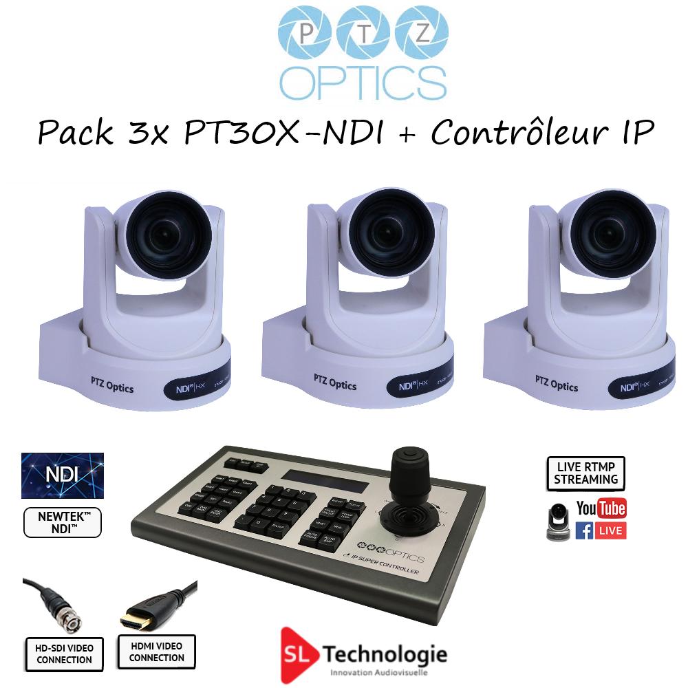 Pack 3x PT30X NDI PTZOptics avec contrôleur IP