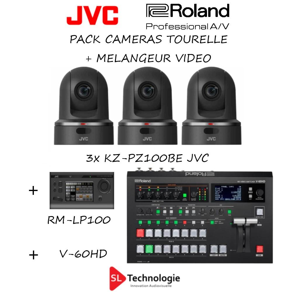 Pack 3x caméra Ptz JVC + Contrôleur + Mélangeur V-60HD Roland