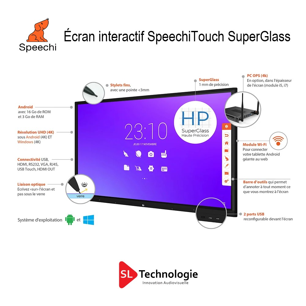 Écran interactif SpeechiTouch SuperGlass.