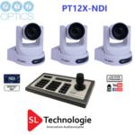 Pack caméras tourelle PT12X NDI PTZoptics + Contrôleur IP