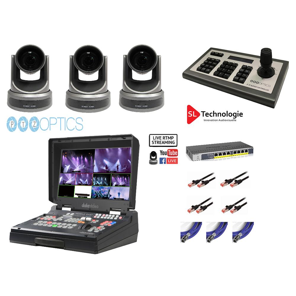 Pack Mélangeur Tout en Un, Enregistrement, Streaming, 3 Caméras PTZ & Contrôleur PTZ