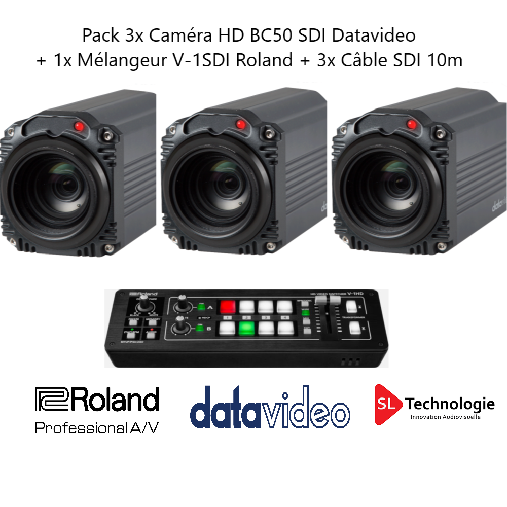 Pack 3 Caméra HD SDI BC50 Datavidéo + 1 Mélangeur V-1SDI Roland + Câbles